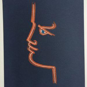 Jean Cocteau Profile Blue