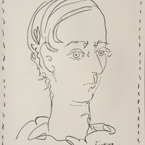 Pablo Picasso Original Poster Lithograph created for the Musee d'Art Moderne, Ceret featuring the lithograph portrait of Manolo Huguet. Edition size: 500 on Velin paper. Printed by Mourlot, Paris. Czwiklitzer 27; Bloch 1278; Mourlot 301