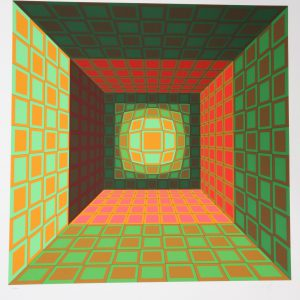 Victor Vasarely Green Orange Serigraph