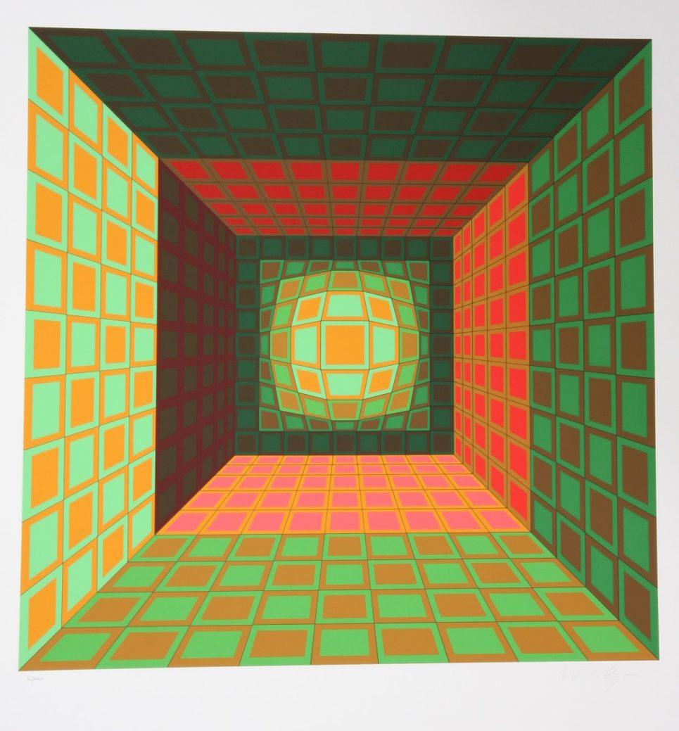 Victor Vasarely Green Orange Serigraph