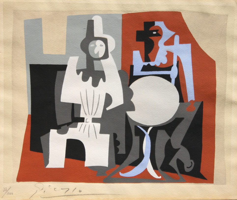 pierrot and harlequin on cafe terrace by pablo picasso