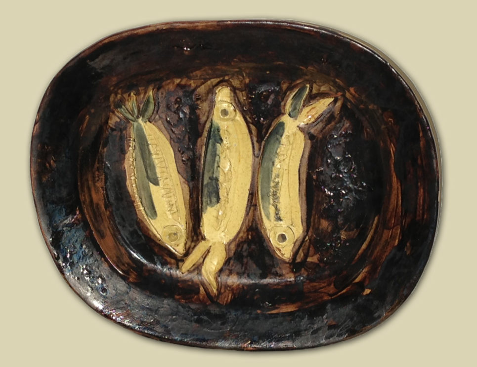 Pablo Picasso Three Sardines Ceramic