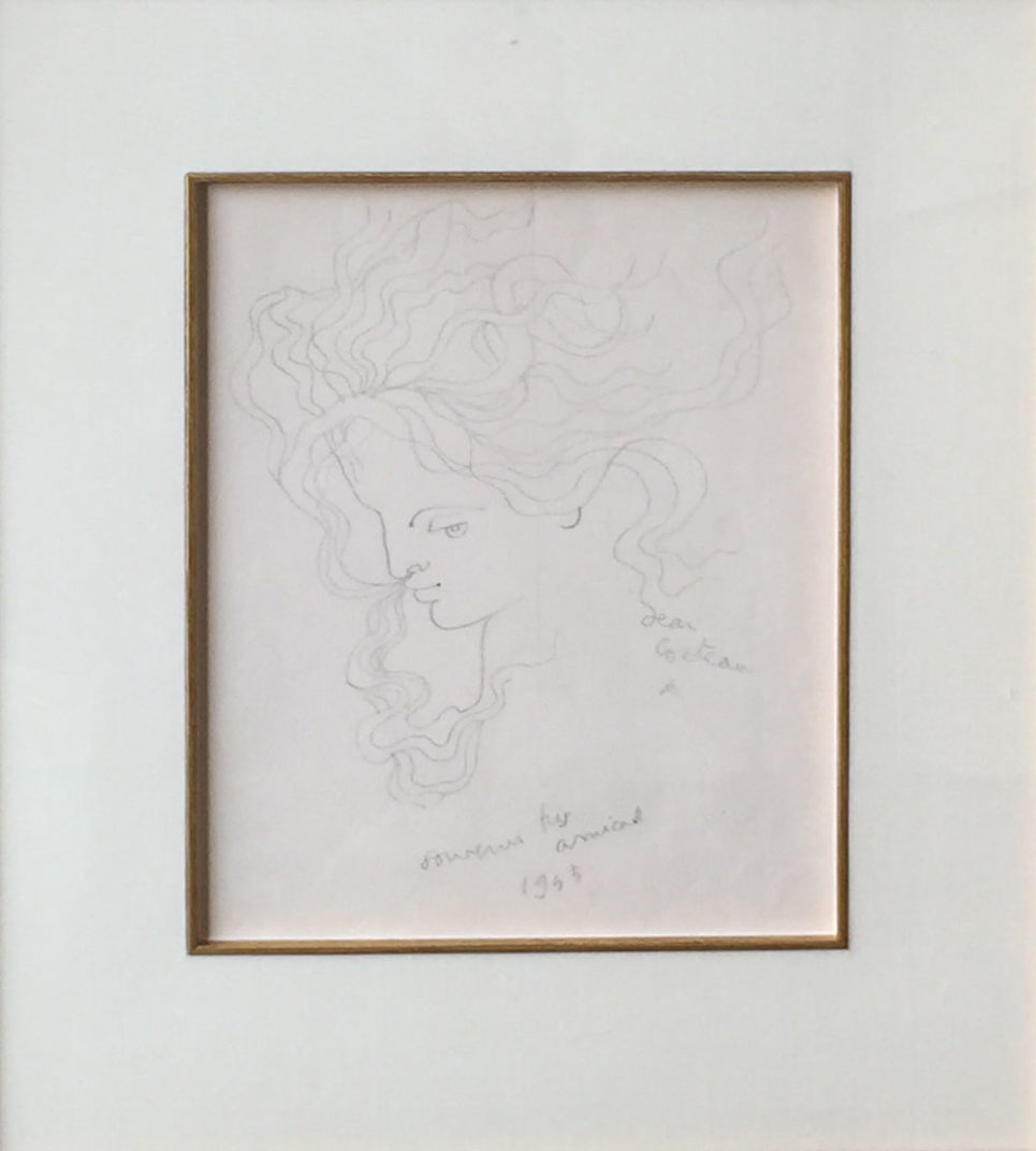 woman profile flying hair jean cocteau