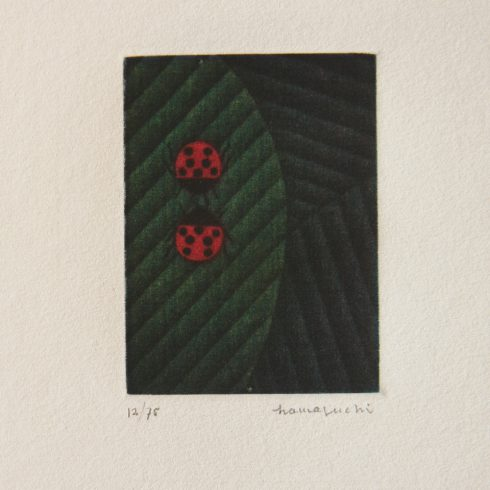 Two Ladybugs on Leaf (c. 1984) by Yozo Hamaguchi