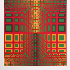 Victor Vasarely Red Green Yellow Silkscreen Print