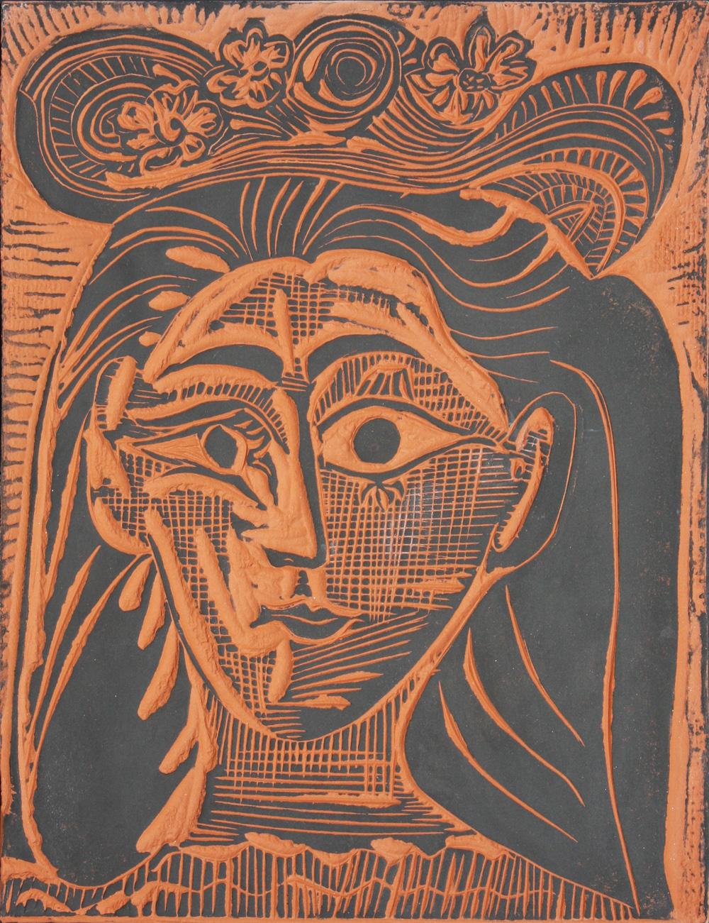 Femme au Chapeau Fleuri, 1964 by Pablo Picasso - Denis Bloch Fine Art