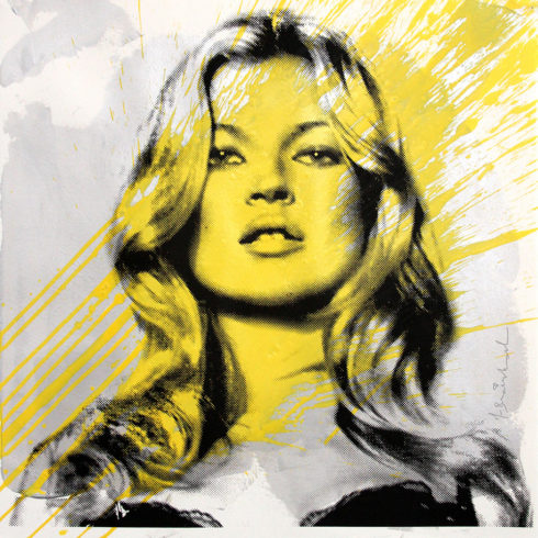 kate moss yellow by mr brainwash