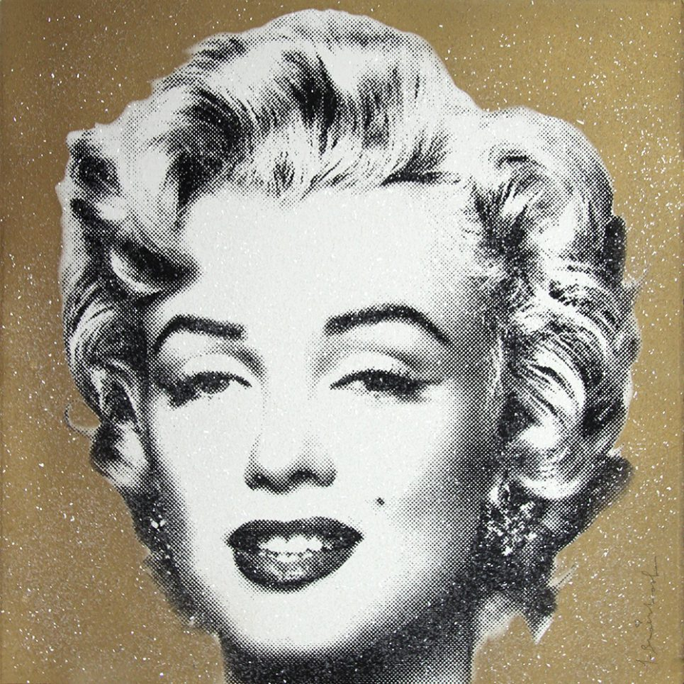 diamond girl Marilyn Monroe gold by mr brainwash