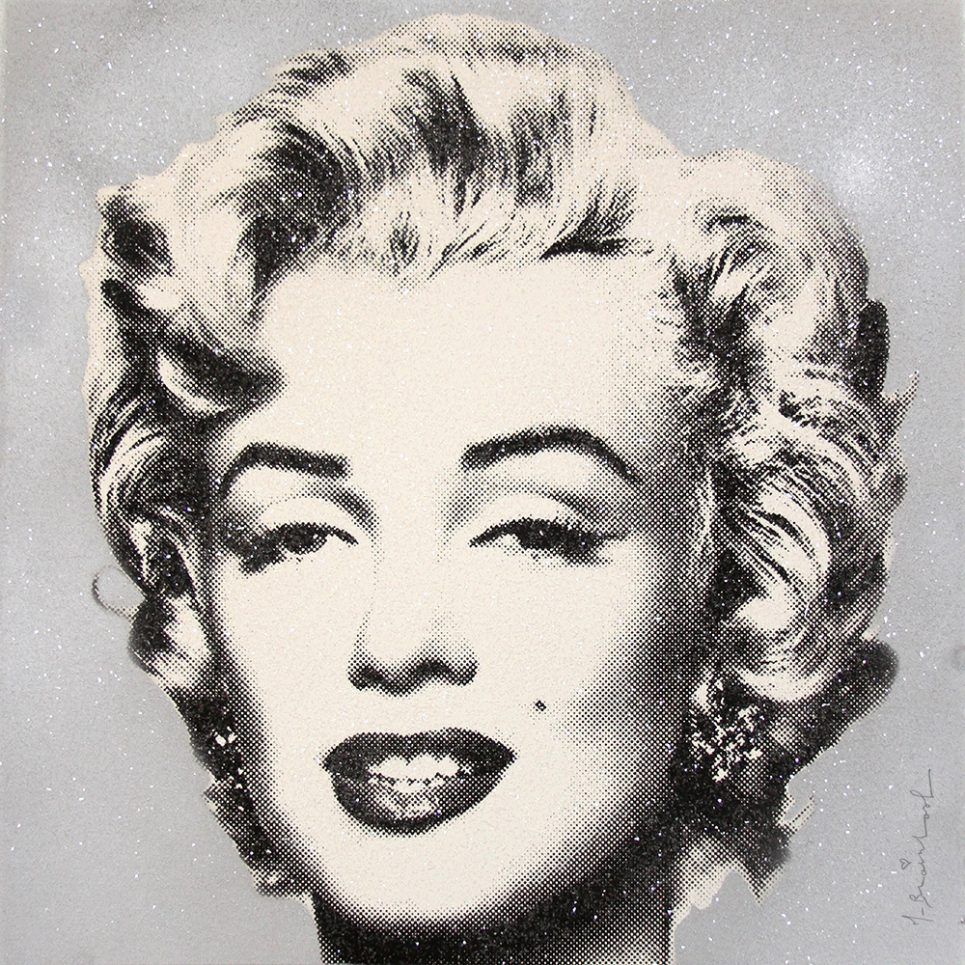 diamond girl Marilyn Monroe silver by mr brainwash