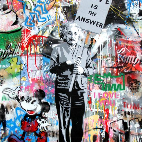 Einstein love is the answer by mr brainwash