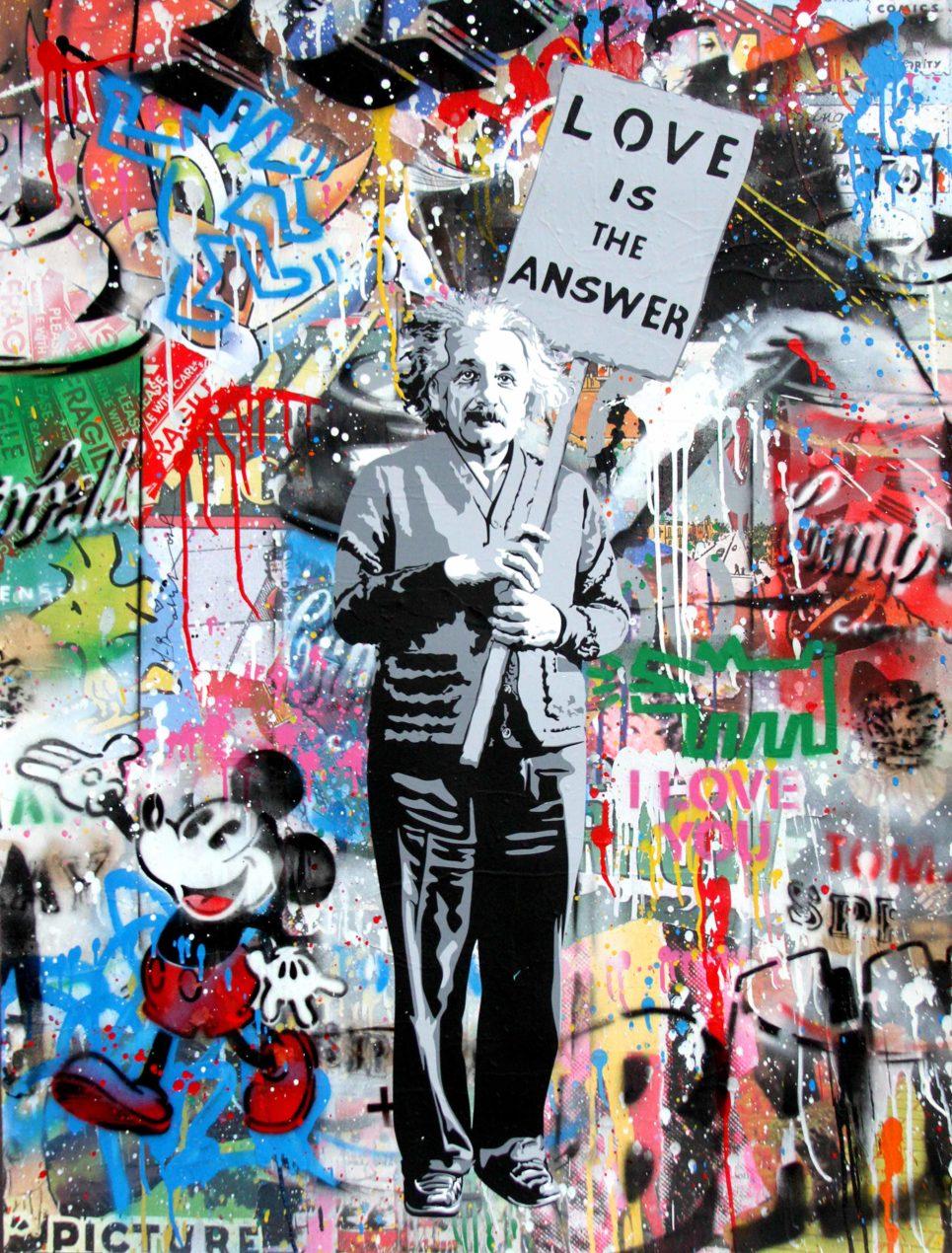 Einstein love is the answer by mr brainwash