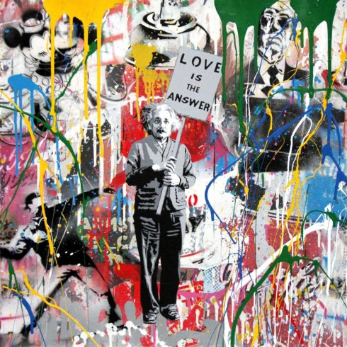 Mr. Brainwash Einstein - Love is the Answer (22 x 22)