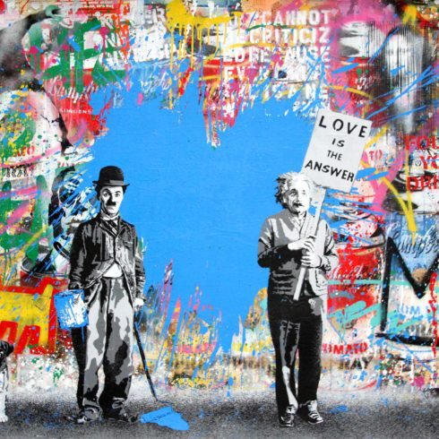 juxtapose blue heart by mr brainwash