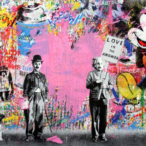 juxtapose pink heart by mr brainwash