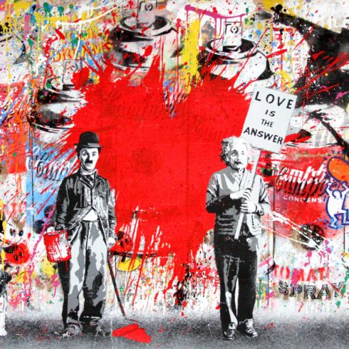 juxtapose red heart by mr brainwash