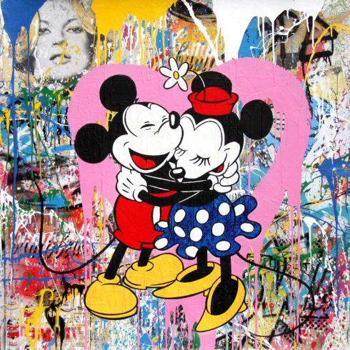 mickey minnie hug pink heart by mr brainwash