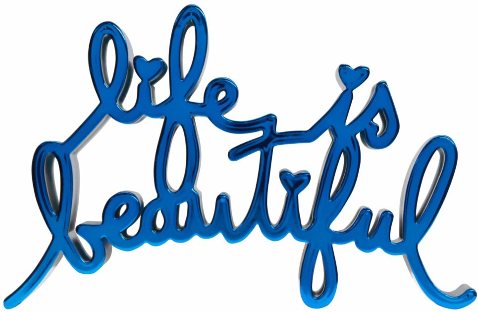 life is beautiful hard candy blue by mr brainwash