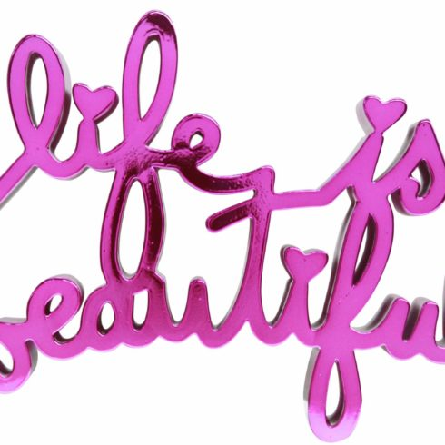 life is beautiful hard candy magenta by mr brainwash