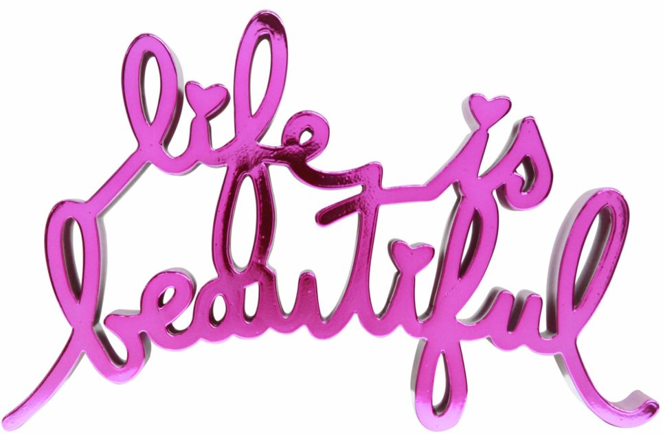 life is beautiful hard candy magenta by mr brainwash