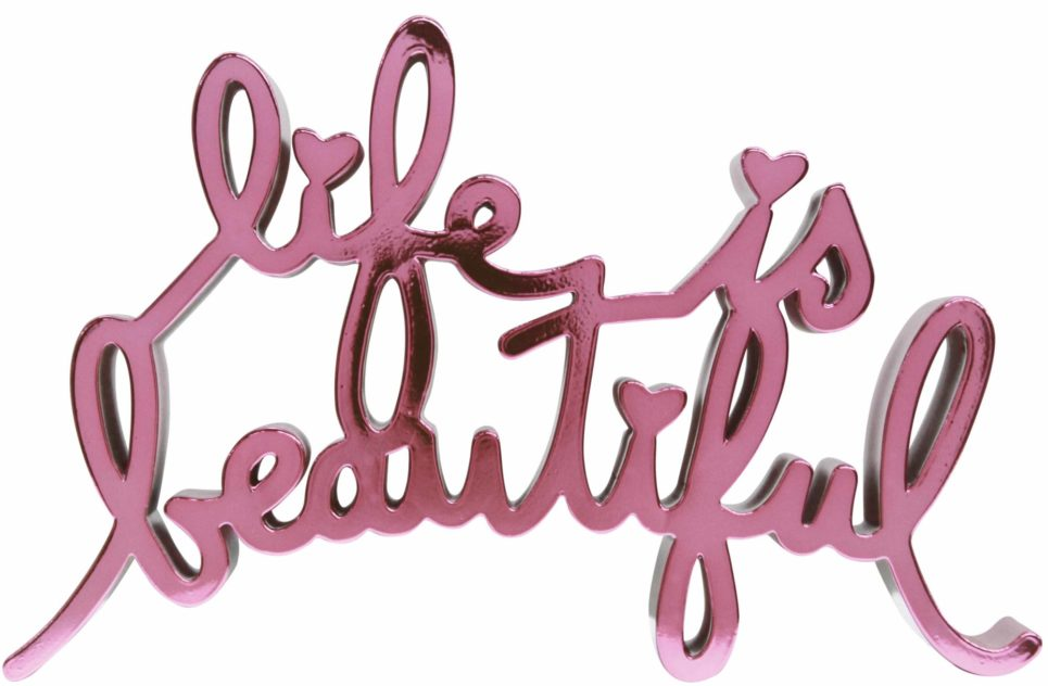 life is beautiful hard candy pink by mr brainwash