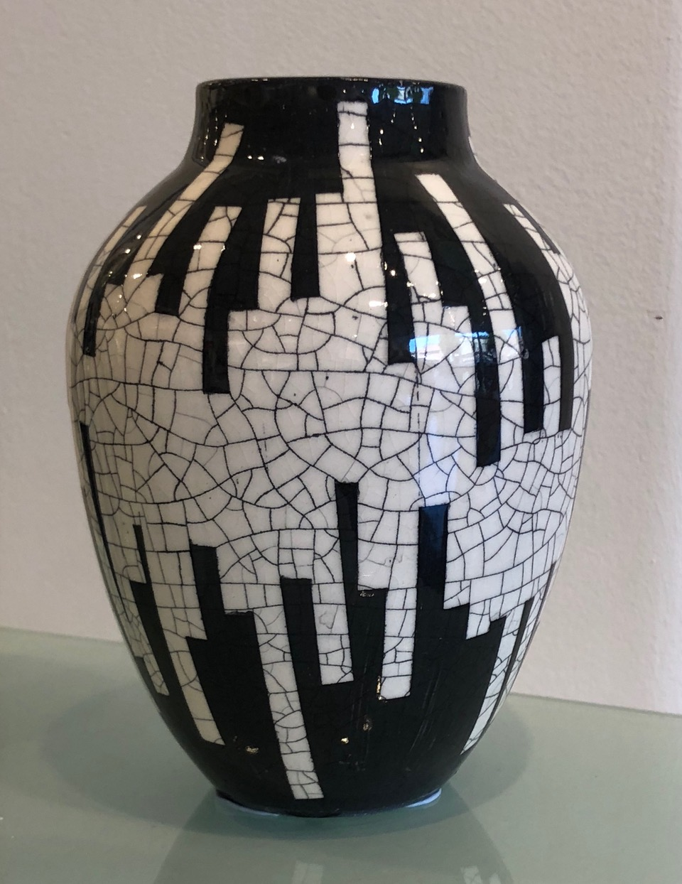 Untitled (Black and White Crackled Vase) (2018) by Andrew Frank
