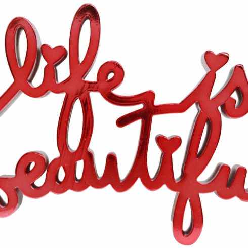 life is beautiful - hard candy red by mr brainwash