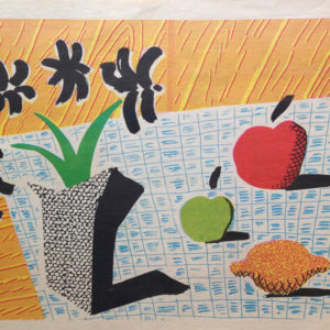two apples, one lemon and four flowers by david hockney