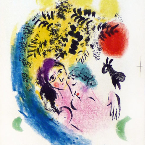 Marc Chagall - Les Amoureux au Soliel Rouge