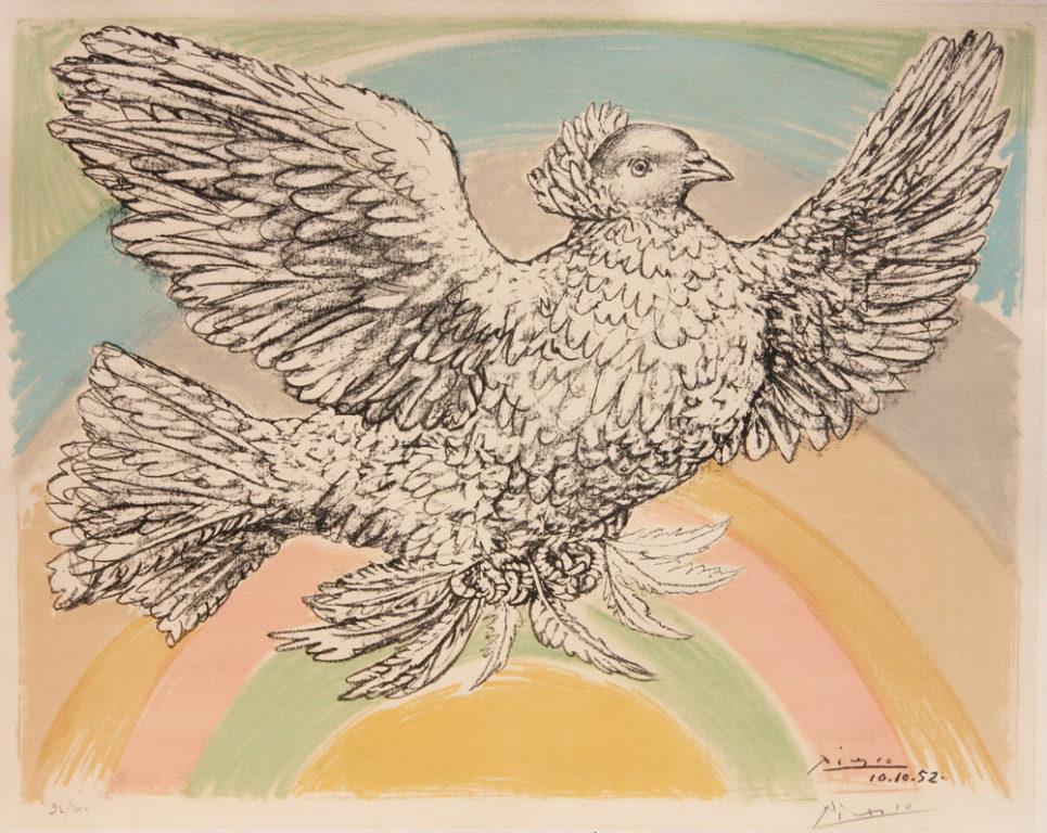 Pablo Picasso Colombe Volant - a L'arc en ciel