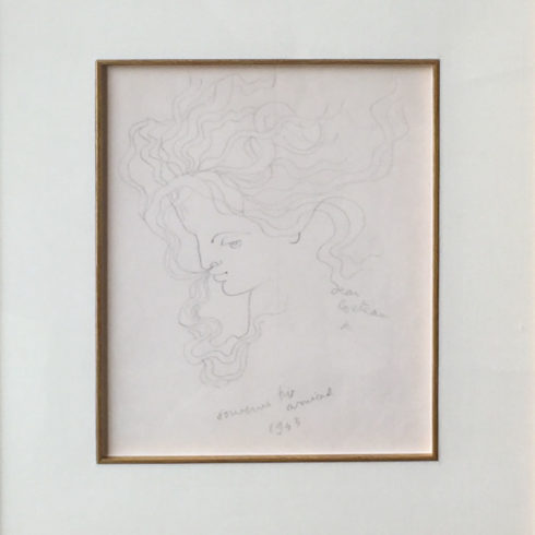 Jean Cocteau - Woman in Profile with Flying Hair