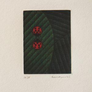 Two Ladybugs on Leaf (c. 1984) by Yozo Hamaguchi