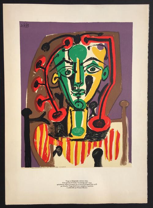 Pablo Picasso Figure au Corsage Raye