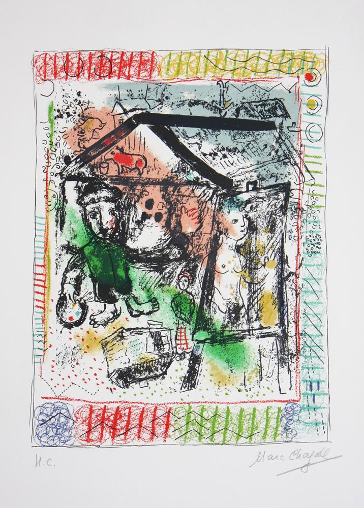 Marc Chagall - Le Peintre devant le Village II