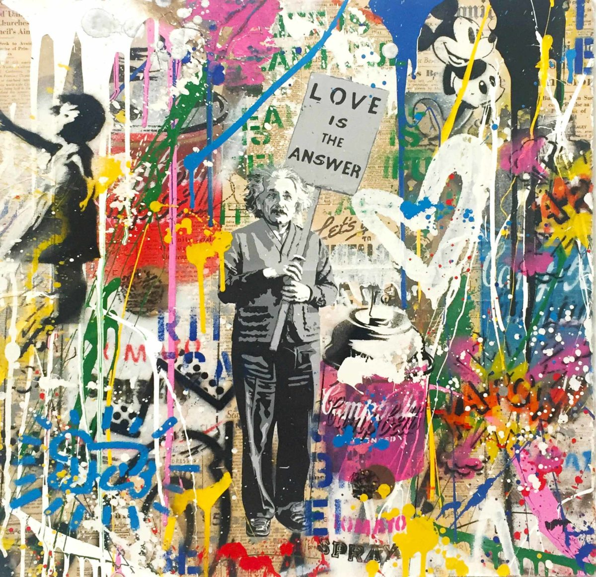 Mr. Brainwash - Einstein - Love is the Answer (22 x 22)
