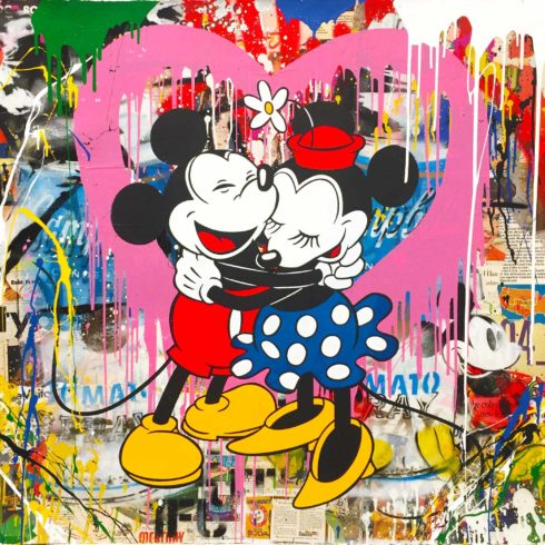 Mr. Brainwash - Mickey & Minnie Hug - Pink Heart (42 x 42)
