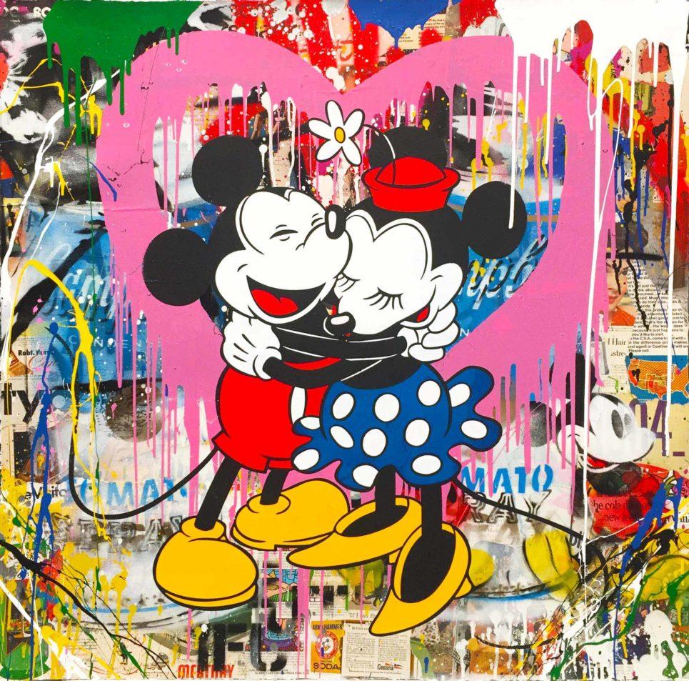 Mr. Brainwash - Mickey & Minnie Hug - Pink Heart (42 x 42)