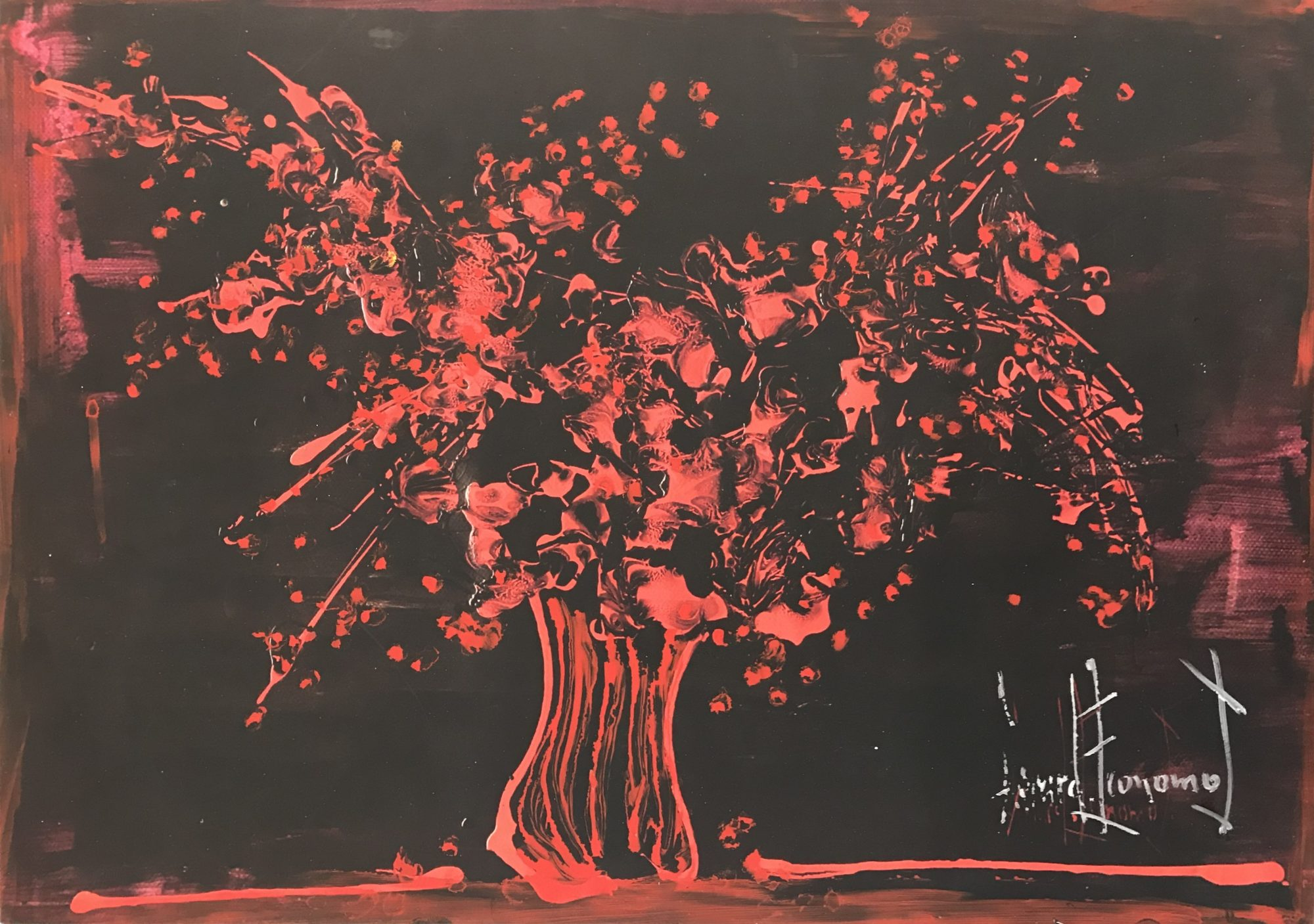 Red Flowers With Black Background 2011 By Gerard Economos