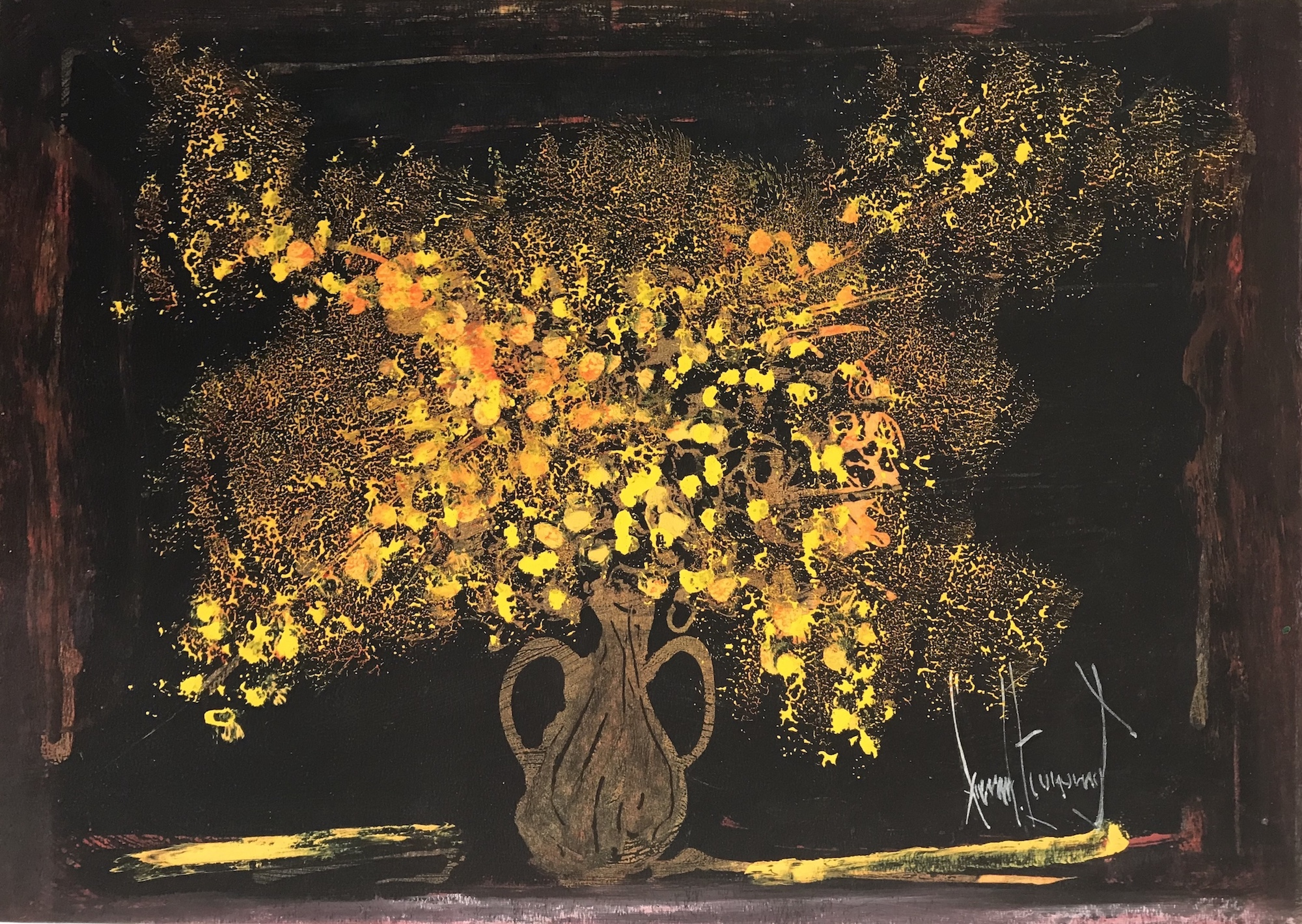 Yellow Flowers with Black Background, 2011 by Gerard Economos