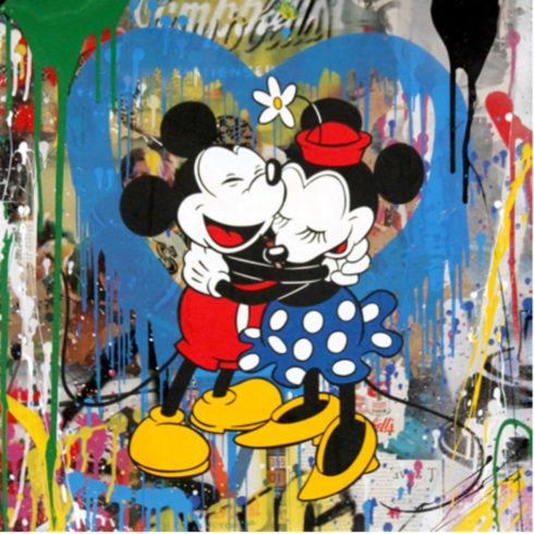 Mr. Brainwash - Mickey & Minnie Hug - Blue Heart (22 x 22)