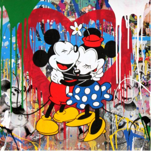 Mr. Brainwash - Mickey & Minnie Hug - Red Heart (22 x 22)