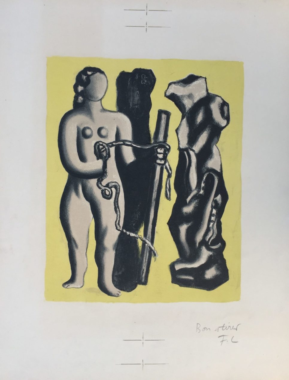 Femme sur fond jaune by Fernand léger