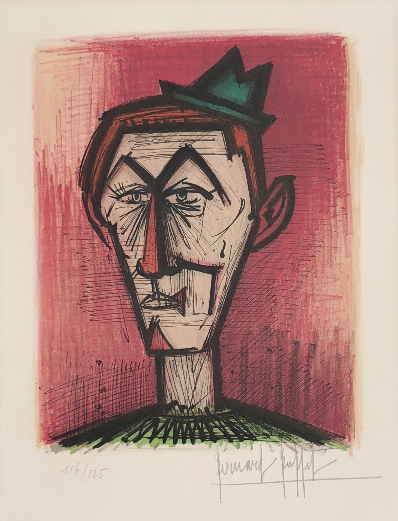 Bernard Buffet - Le Clown au Fond Rouge