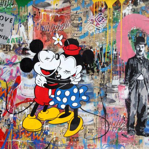 Mr. Brainwash - Juxtapose Mickey Minnie Hug Pink Heart 48 x 84