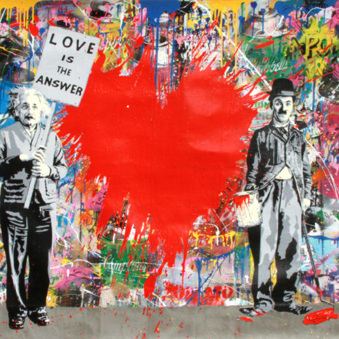 Mr. Brainwash - Juxtapose – Red Heart (44 x 74)