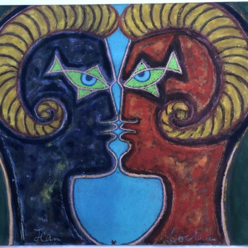 Jean Cocteau - 2 Profiles Face to Face (Pastel)
