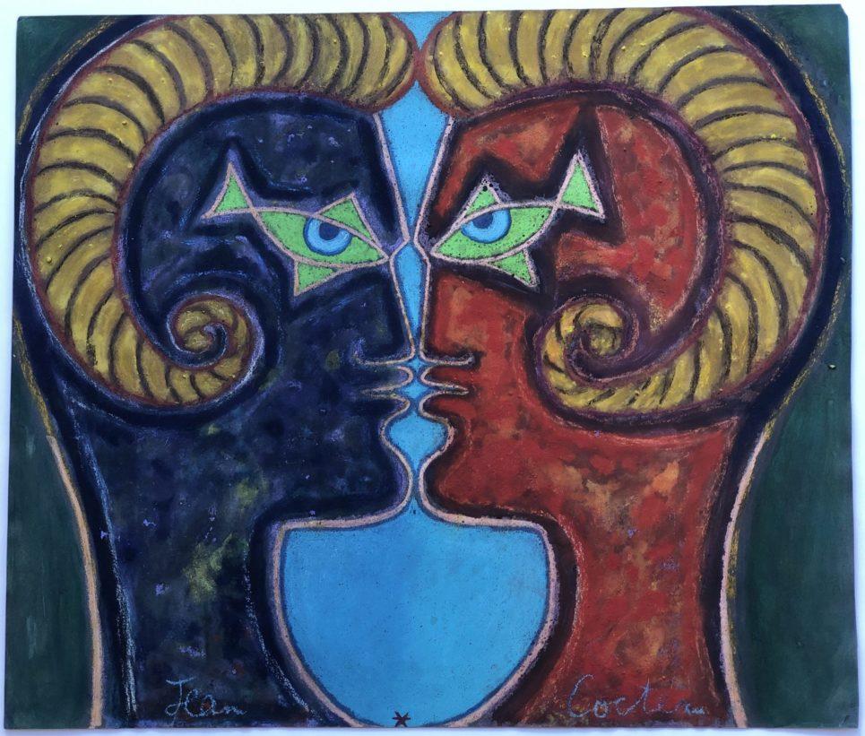Jean Cocteau - 2 Profiles Face to Face (Pastel)