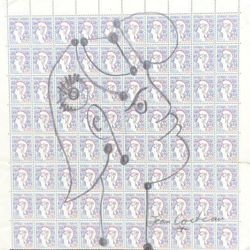 Jean Cocteau - Marianne sur une planche de 80 timbres