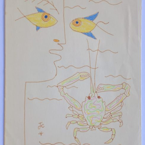 Jean Cocteau - Profile with Fish and Crab