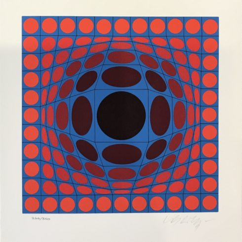 Victor Vasarely - Blue and Red Composition