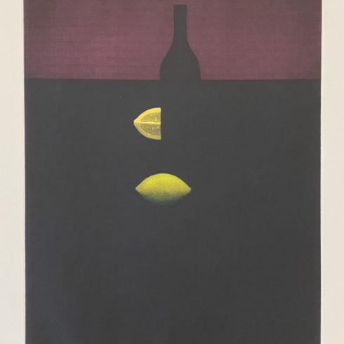 Yozo Hamaguchi - Bottles with Lemon and Red Wall